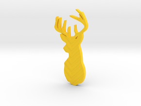 Stag Brooch  in Yellow Processed Versatile Plastic