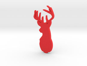Stag Brooch  in Red Processed Versatile Plastic