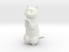 1/12 Praying/Begging Cat Standing in White Natural Versatile Plastic
