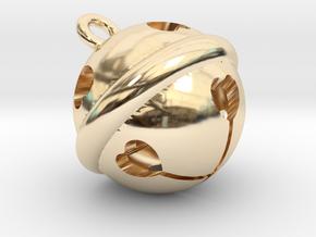 Kawaii Jingle Bell 1cm Golden Christmas Cat in 14k Gold Plated Brass