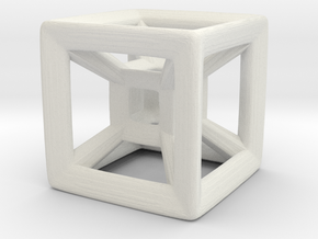 Wireframe Tesseract Hypercube (Die-sized) 15mm in White Natural Versatile Plastic