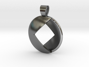 Double square [pendant] in Polished Silver