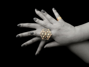 Hexagon Ring in 18k Gold Plated Brass: 8 / 56.75