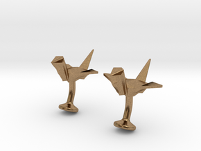 Origami Crane Cufflinks in Natural Brass