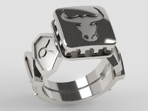 US 11,50 Custom Taurus Ring in Polished Silver