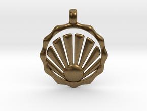 SHELL Symbol Minimal Jewelry Pendant in Natural Bronze