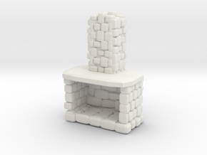 Stone Fireplace 1/24 in White Natural Versatile Plastic