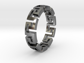 Meander ring in Polished Silver: 6 / 51.5