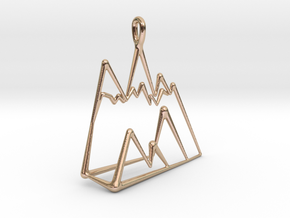 chic minimalist geometric mountain necklace charm in 14k Rose Gold Plated Brass: Medium