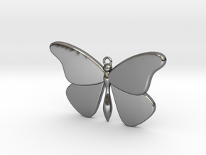 Single Butterfly Pendant (large) in Fine Detail Polished Silver