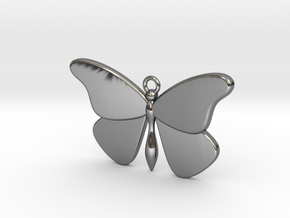 Single Butterfly Pendant (medium) in Fine Detail Polished Silver