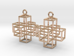 3D Plus Earrings in 14k Rose Gold Plated Brass