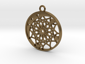 Moon, Stars and Dream Catcher Pendant in Natural Bronze
