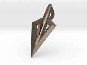 Broadhead Hunting Pendant in Polished Bronzed-Silver Steel