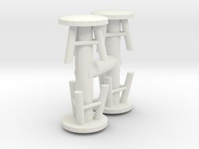 Stool (x4) 1/48 in White Natural Versatile Plastic