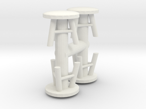 Stool (x4) 1/43 in White Natural Versatile Plastic