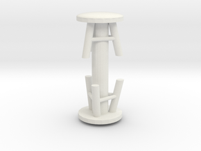 Stool (x2) 1/35 in White Natural Versatile Plastic