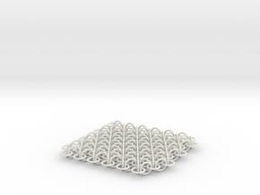 2D Chain Mail, 1cm deep in White Natural Versatile Plastic