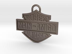 Memorial GRANDPA RUBEN Pendant ✩ VIL ✩ in Polished Bronzed-Silver Steel