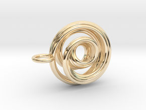 Single Strand Spiral Mobius Pendant in 14K Yellow Gold
