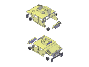 M1114 Humvee Armor w/ Gunner's Protection Kit in Smooth Fine Detail Plastic