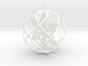 snowflake bauble ornament in White Processed Versatile Plastic