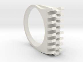 Tri-Fold Edge Ring - US Ring Size 07 in White Natural Versatile Plastic