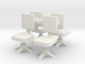 Office chair (x4) 1/72 in White Natural Versatile Plastic