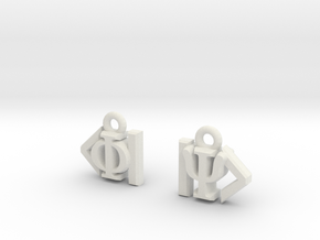 Dirac Bracket Notation Earrings in White Natural Versatile Plastic