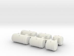 1/50th Builders Pack of 6 truck fuel tanks in White Natural Versatile Plastic