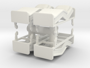 Hospital Bed (x4) 1/87 in White Natural Versatile Plastic