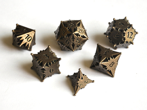 Starlight (Small D20) Dice Set - Balanced in Polished Bronze Steel