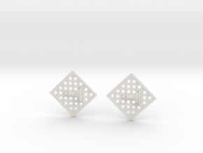 Chess Earrings - Pawn in White Natural Versatile Plastic