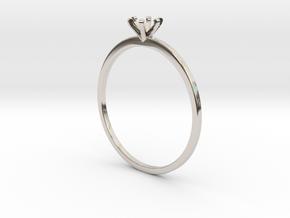 Plain Size 7 Ring - 4mm Gem - 6 prong - v5 in Platinum