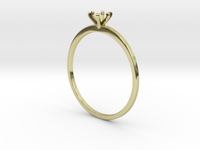 Plain Size 7 Ring - 4mm Gem - 6 prong - v5 in 18k Gold