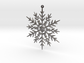 Snowflake earring or pendant in Polished Nickel Steel