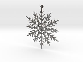 Snowflake earring or pendant in Polished Nickel Steel