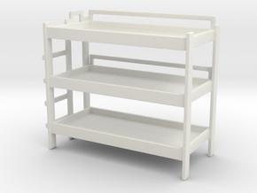 Triple Bunk Bed 1/76 in White Natural Versatile Plastic