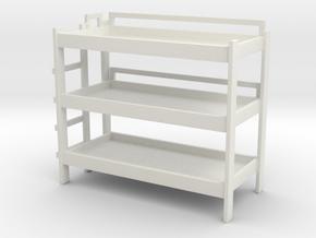 Triple Bunk Bed 1/72 in White Natural Versatile Plastic