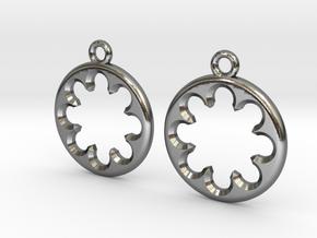 Rosette type 1 [earrings] in Polished Silver