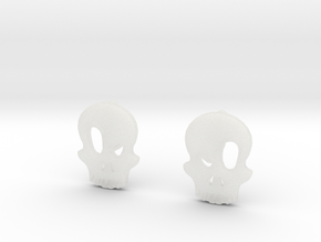 Eyebrow Skull Earrings (Small) in Smooth Fine Detail Plastic