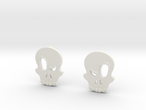 Eyebrow Skull Earrings in White Strong & Flexible