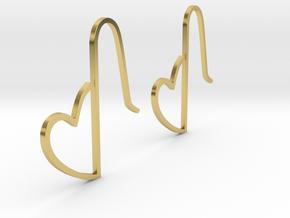 Heart Earring Set in Polished Brass