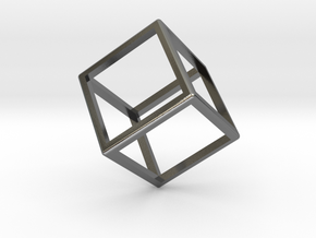 Wireframe Polyhedral Charm D6/Cube in Polished Silver