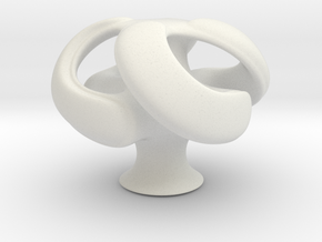 Abstract Geometric Cube in White Natural Versatile Plastic: Small