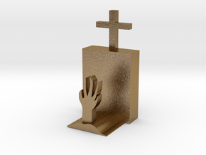 grave with hands in Polished Gold Steel