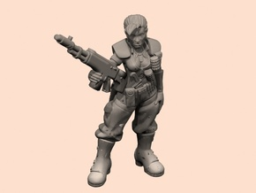54mm SciFi Female sergeant in Smooth Fine Detail Plastic