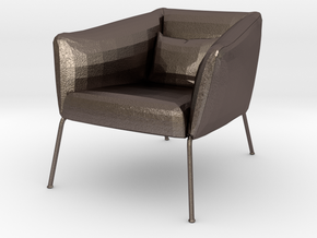 Miniature 1:24 Armchair in Polished Bronzed-Silver Steel: 1:24