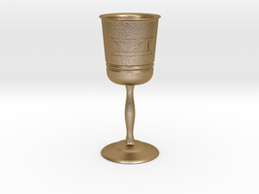 Wine glass XXI in Polished Gold Steel