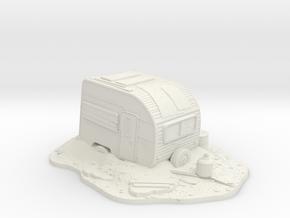 Wargaming Scenary Post-Apocalypse Camping Caravan  in White Natural Versatile Plastic
